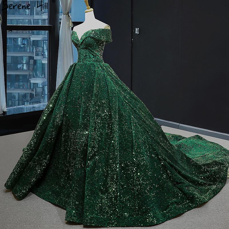 Image 5 - Dubai Green Lace Up Sequined Wedding Dresses 2020 Sweetheart Sexy Luxury Bridal Gowns Serene Hill HM66742 Custom MadeWedding Dresses   -