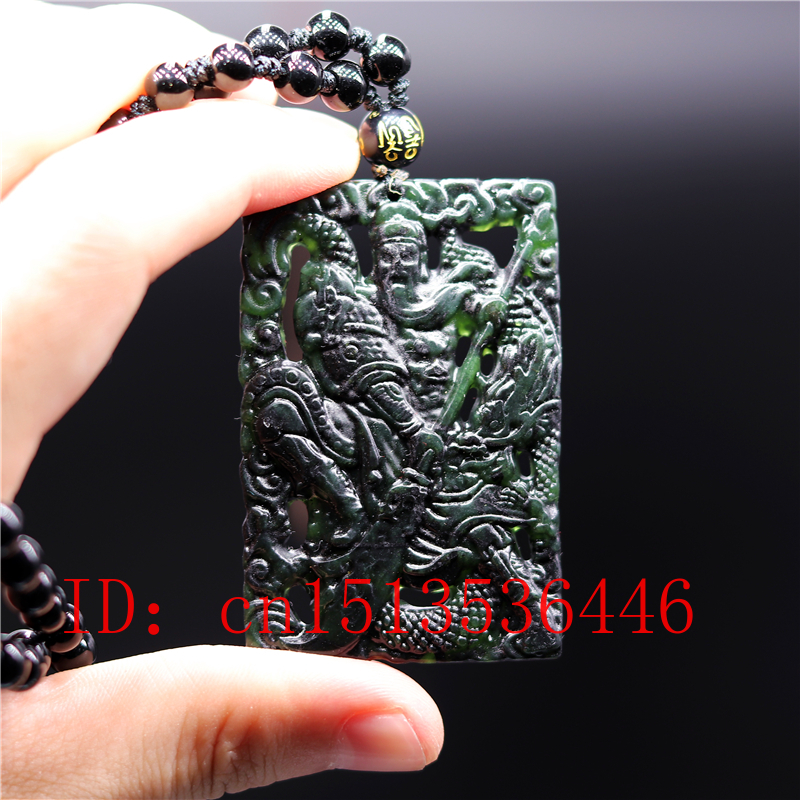 Chinese Black Green Jade Warrior Guan Gong Double-sided Hollow Carved  Pendant Natural Necklace Charm Jewellery Amulet Gifts