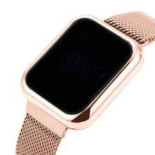 Rose Gold Women's Watches Luxury LED Digital Watch for Women Stainless Steel Wristwatch Ladies Fashion Watch Women Reloj Mujer