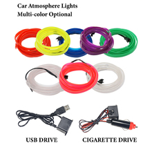 100 conjunto de iluminação interior do carro flexível led strip guirlanda fio corda tubo linha luz néon com controlador de acionamento cigarro