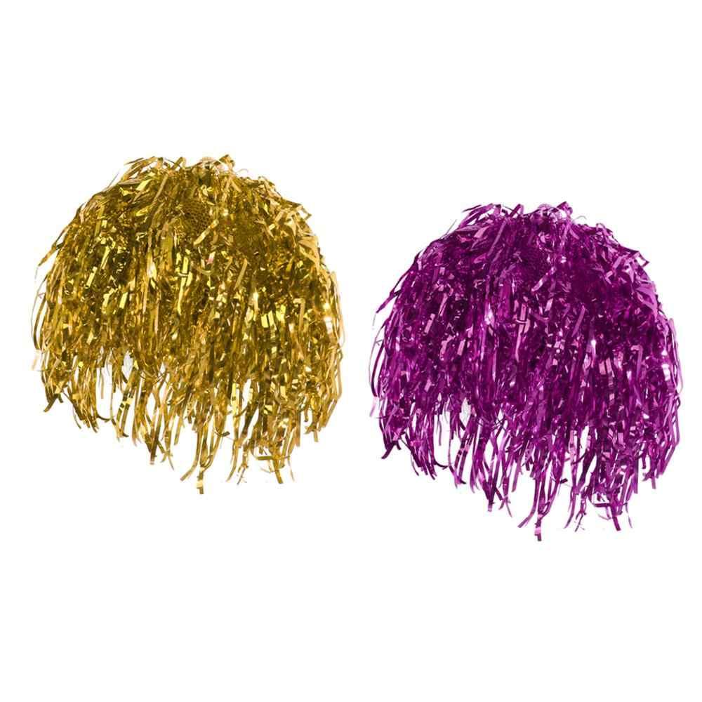 2 Pcs Pria Wanita Lucu Hijau Ungu Mengkilap Logam Foil Kostum Cosplay Festival Hiasan Wig Pesta Lucu Novelty Alat Peraga
