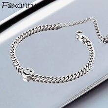 Foxanry 925 srebro Smiley Face Vintage bransoletki dla kobiet nowy modny tajski srebrny elegancki urodziny biżuteria prezenty