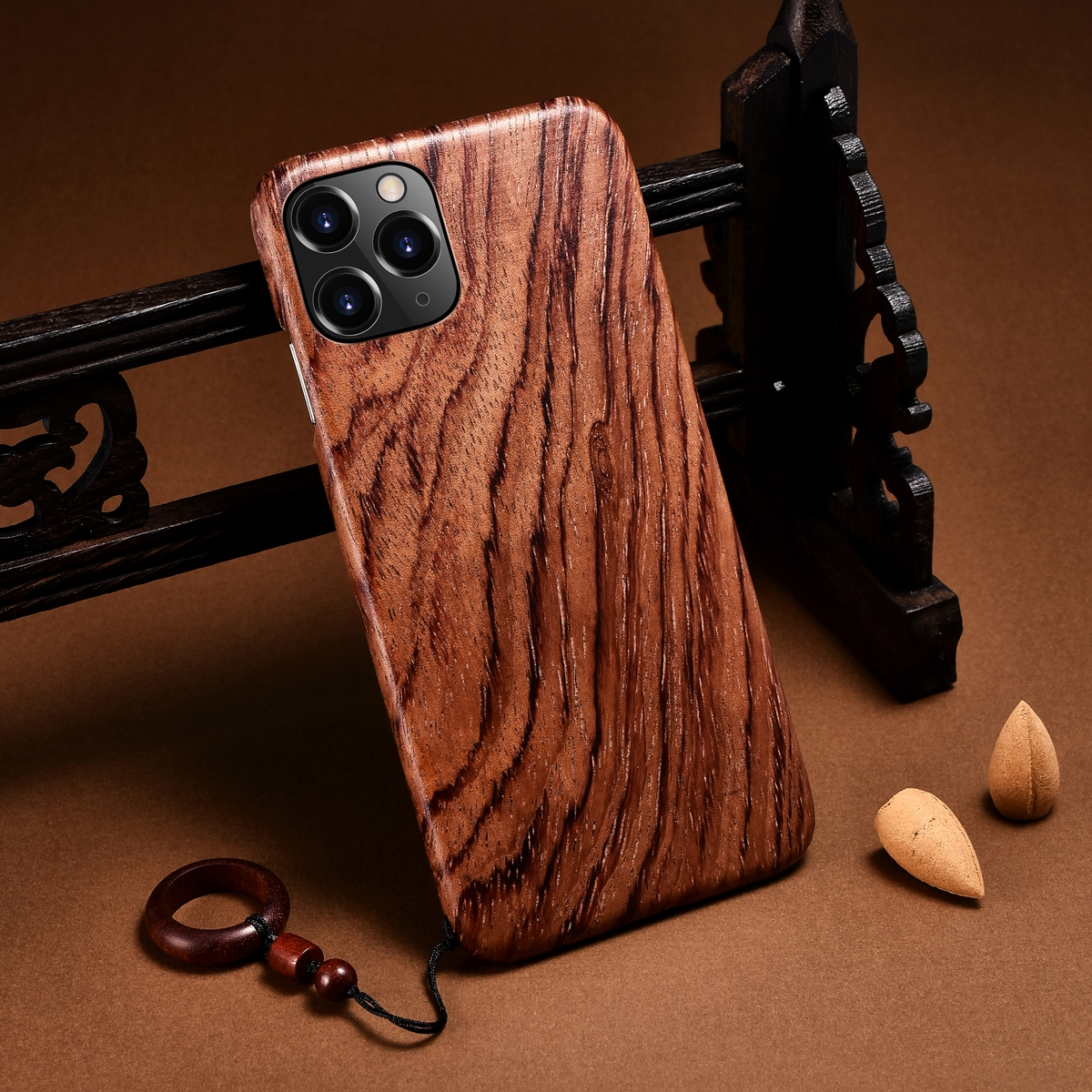100% Natural Real Wood Bamboo Hard Slim Wooden Case for iPhone 12 Pro Max