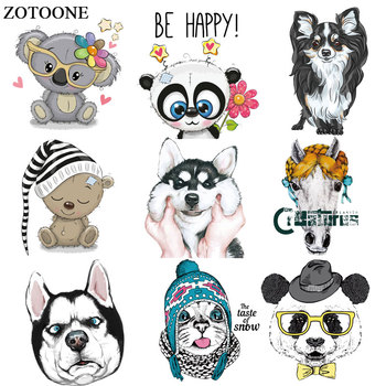ZOTOONE Animal Patch Dog Cat Bear Iron on Transfers for Clothing Heat Transfers Applications DIY T-shirt Appliques Stickers E zotoone printed drink beer heat transfers vinyl ironing clothes stickers iron on patches for clothing diy cocktail appliques e