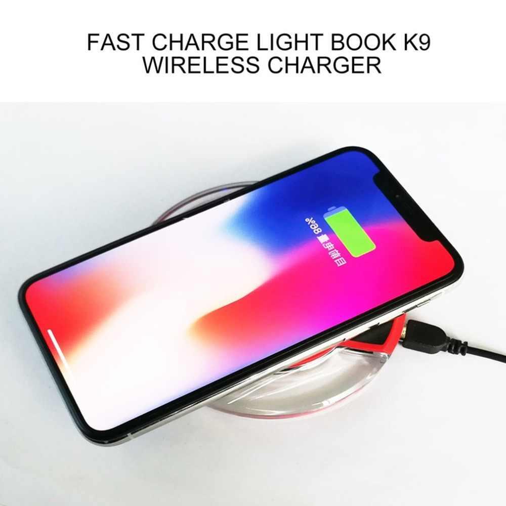 Ultra-Sottile Cristallo K9 Caricatore Senza Fili Carica Veloce Base Rotonda Trasmettitore Per iphone X Del Telefono Mobile Qi
