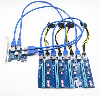New 1 to 4 PCIe PCI-E Riser Card PCI Express 1x to 16x USB 3.0 Data Cable SATA to 6Pin Power Supply for BTC Miner Machine Mining