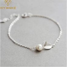 Xiyanike nova moda 925 prata esterlina criativo elegante pérola folhas pulseira para mulheres casal festa jóias ajustável