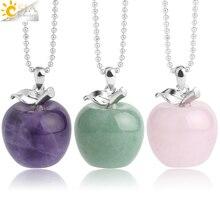 CSJA подвеска яблоко натуральный камень подвеска Кристалл кулоны кварцевые бусы ожерелья модные украшения для женщин подарок G046