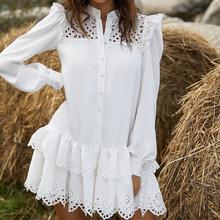 Kobiety solidna z koronkowym koszuli sukienka 2020 jesień eleganckie panie stoją kołnierz drążą jednorzędowe kaskadowe Ruffles Mini sukienki tanie tanio LCYFQS CN (pochodzenie) Poliester A-LINE Osób w wieku 18-35 lat LY301 STAND Pełna REGULAR WOMEN Koronki Na co dzień Naturalne