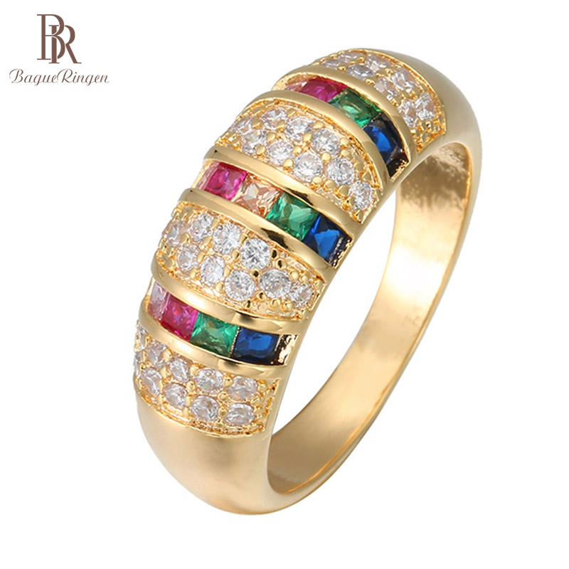 Bague Ringen Silver 925 Ring for Women Trendy Fine Jewelry Geometry Colors Gemstones Gold Color Rainbow Dating Party Rings Gift