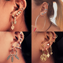 1set Fashion Bohemian punk Earrings Jewelry crystal cactus eyes heart shape Stud Earrings Best Gift for Women Girl E052