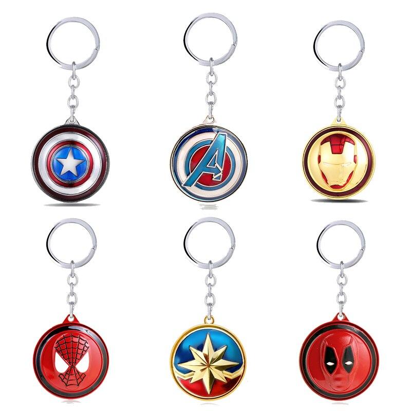Avengers Captain America Marvel Ironman Keychain Deadpool Keyrings Rotating Metal Pendant Chaveiro Key Chain Men Jewelry Llavero