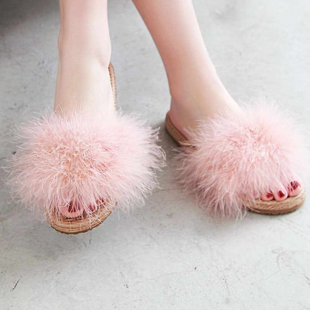 Harige Losse Voeten Bovenste Cover Warm Slippers Open Teen Platte Schoenen Winter Mode Sexy Vrouwen Slippers Outdoor Leisure Schoenen