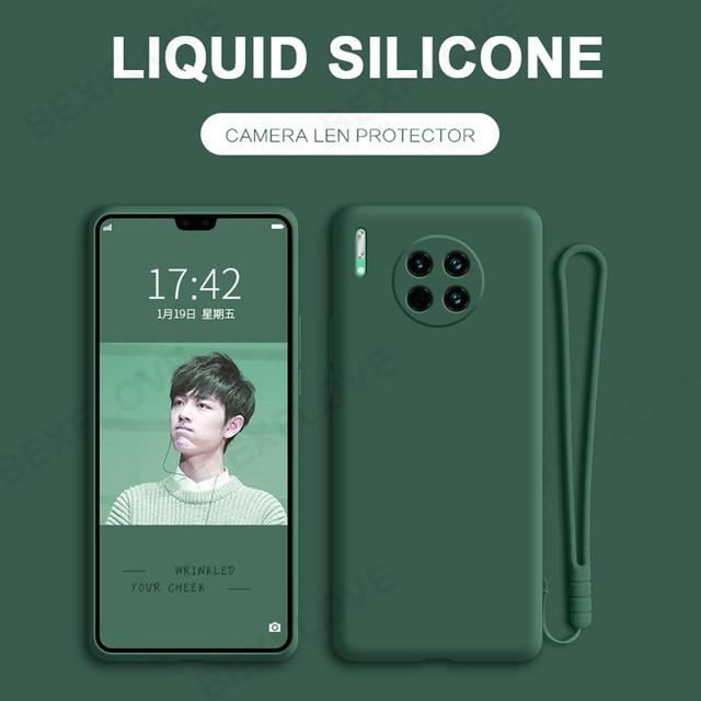 Case for Huawei P20 P30 P40 Lite Mate 20 30 Pro Plus Y6 Y7 Y9s 2019 Honor 20 Nova 5T Case Liquid Silicone Original Strap Cover