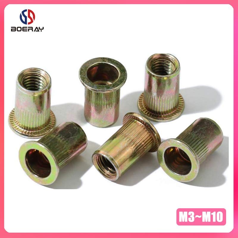20pcs M3 M4 M5 M6 M8 M10 M12 Carbon Steel With Zinc Plate Flat Head Threaded Rivet Insert Insert Cap Rivnut Rivet Nut