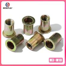 цена на 20pcs M3 M4 M5 M6 M8 M10 M12 Carbon Steel with Zinc Plate Flat Head Threaded Rivet Insert Insert Cap Rivnut Rivet Nut