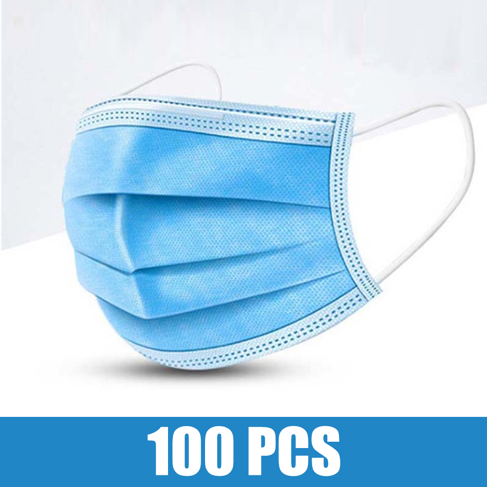 100pcs Face Mouth Mask Disposable Protect 3 Layers Filter Dustproof Earloop Non Woven Mouth Protective Masks 48 Hours Shipping