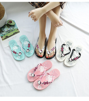 Girls Slippers Summer Shoes Big Teenagers Children Beach Flip-flops Candy Color Cartoon Hello Kitty Cute Kids Shoes Sandals Hot girls slippers summer hot flip flop children sandals cartoon pink piggy big girls beach slippers kids shoes pvc sandal 30 35 new
