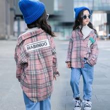 MyCOS Осень стиль детская одежда корейский стиль девушки свободные топы кардиган детская рубашка в клетку с длинным рукавом