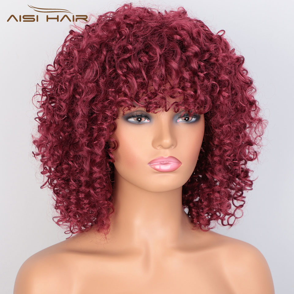 I's A Wig Afro Kinky Curly Wig Red Synthetic Short Wig Natural Black Brown Purple Pink Hair For Women Heat Resistant Hairs
