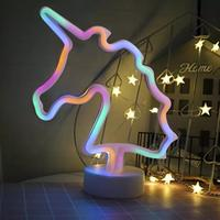 Luz de neón Led con batería USB para decoración de habitaciones, lámpara colorida con forma de flamenco, árbol de coco, Cactus y unicornio, luces nocturnas de Mesa para el hogar
