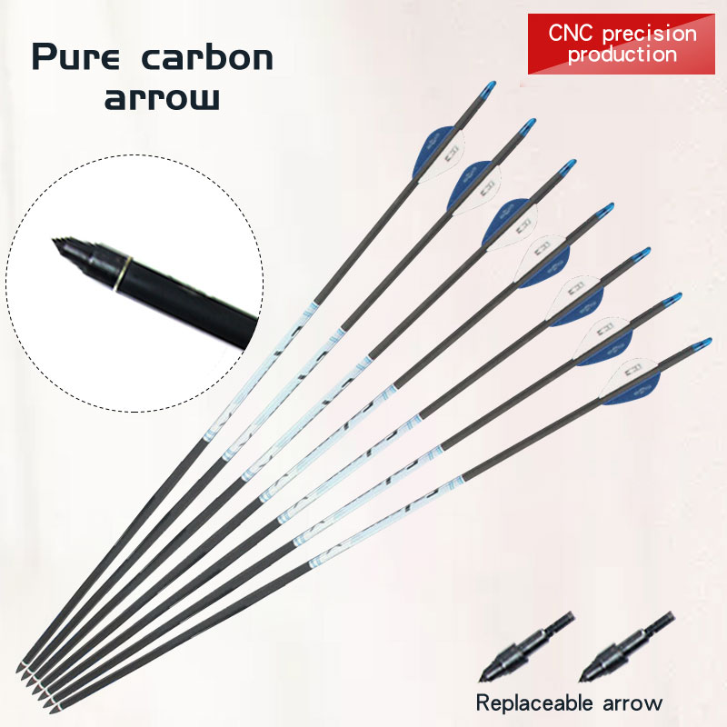 3/6/12/24pcs Carbon Arrow Bow And Arrow Archery Arrows Hunting Arrows Outdoor Shooting For Recurve/Compound Bows Accessories