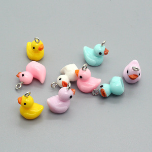 10pcs Cute Mixed Color Resin Yellow Duck Earring Charms DIY Animal Pendant For Necklace Keychains Hand Jewelry Accessory