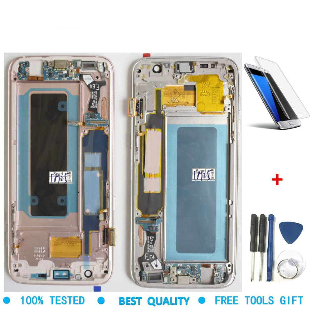 Original SUPER AMOLED LCD Screen For Samsung Galaxy S7 Edge Screen G935 SM-G935F LCD Display Touch Digitizer Assembly with Frame image