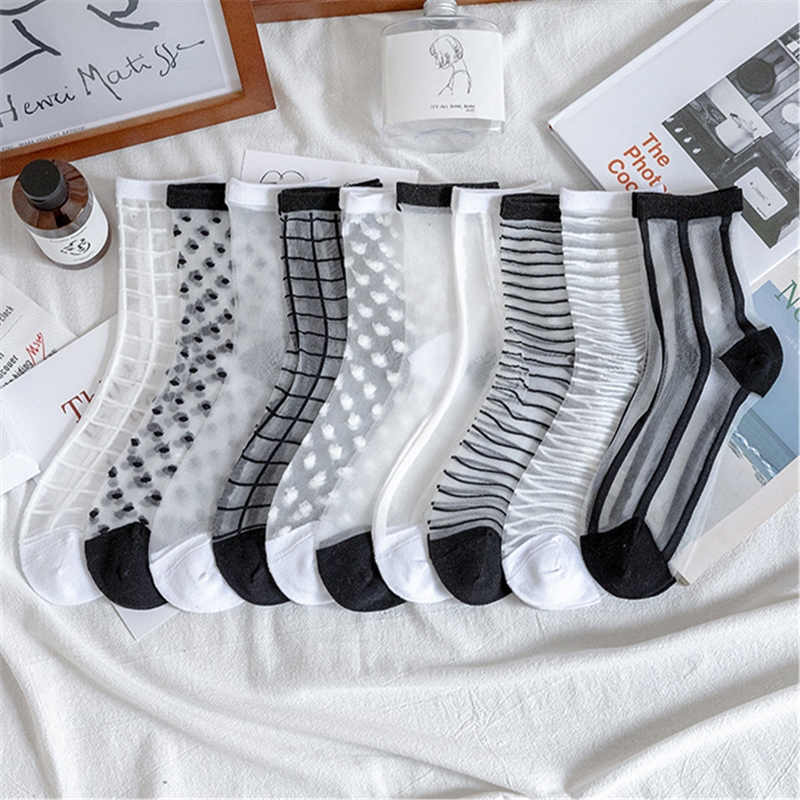 Womens Silk Lace Transparent Socks Black White Fishnet Socks 2020 Summer Fashion Elasticity Ankle Thin Women Socks Sheer Hosiery