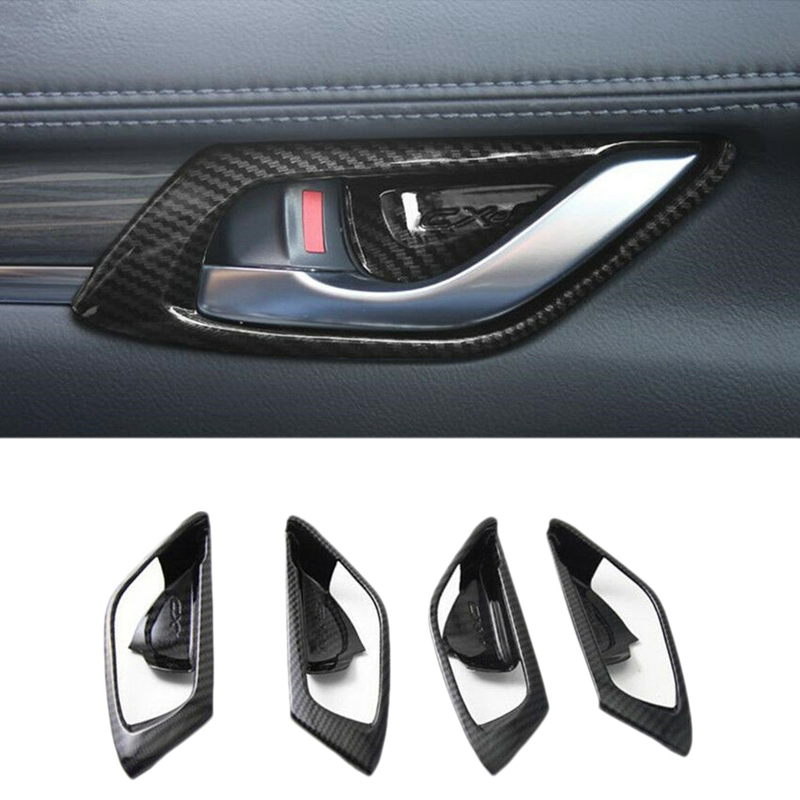 Carbon Fiber Style ABS <font><b>Interior</b></font> Door Handle Bowl Cover Trim for <font><b>Mazda</b></font> <font><b>CX</b></font>-<font><b>5</b></font> CX5 2017 <font><b>2018</b></font> <font><b>Interior</b></font> <font><b>Accessories</b></font> image