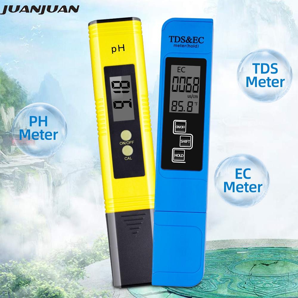 2 pces digital 0.0-14.0 medidor de ph tester 0-9990ppm digital tds ec lcd água pureza ppm aquário filtro 28% de desconto