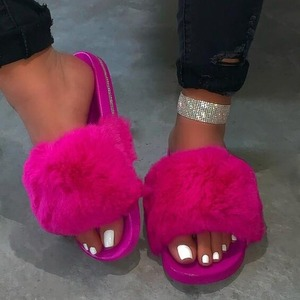1 Day Ship Women Furry Fur Slides Indoor Home Slippers Woman Fluffy Flip Flops Ladies Home Shoes Female Flats Shoes Chanclas
