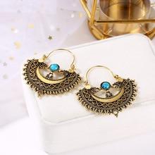 HOCOLE Ethnic Drop Earrings For Women Vintage Tibetan Gold/Silver Color Geometric Pendant Dangle Earring Female Indian Jewelry