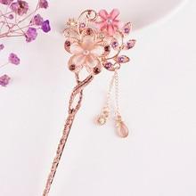 1PCS Cat Eye Stone Hair Pin Double Flower Hair Clip Classical Hairpin Barrette Hair Accessories national wind headweard