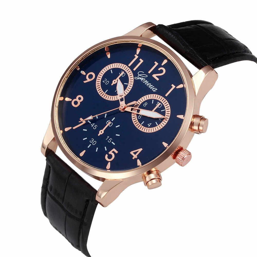 บุรุษนาฬิกา Retro หนัง Mens Analog Quartz นาฬิกา Blue Ray Glass นาฬิกาข้อมือสุดหรูนาฬิกานาฬิกานาฬิกา relojes hombre l58