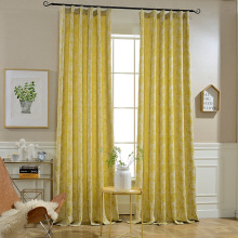 New Chinese Yellow Vintage Rose Cotton Hemp Jacquard Curtains for Living Dining Room Bedroom.