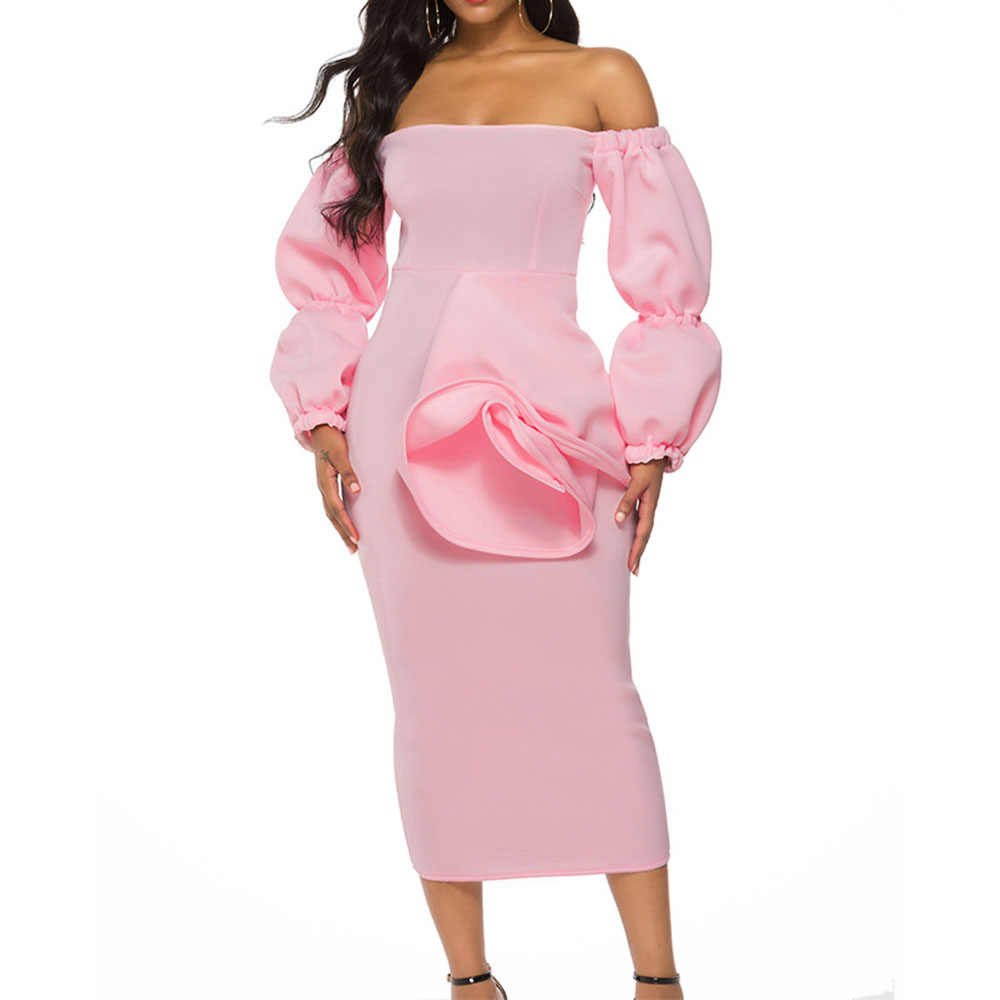 สีชมพู Elegant Cocktail Dress Off ไหล่แอฟริกันแขนยาวชาความยาวงานแต่งงานอย่างเป็นทางการค็อกเทล