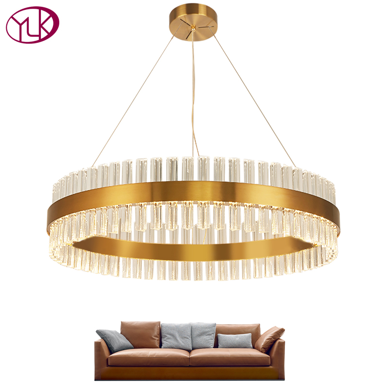 Modern Led Chandeliers In The Living Room Ring Crystal Chandelier For Dining Room Hanging Circle Cristal Lamps Gold-bronze Light
