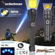 Leistungsstarke XHP90 XHP70.2 LED Taschenlampe lange palette Macht Display Taschenlampe USB Zoomable 3 modi 26650 USB Aufladbare Große batterie