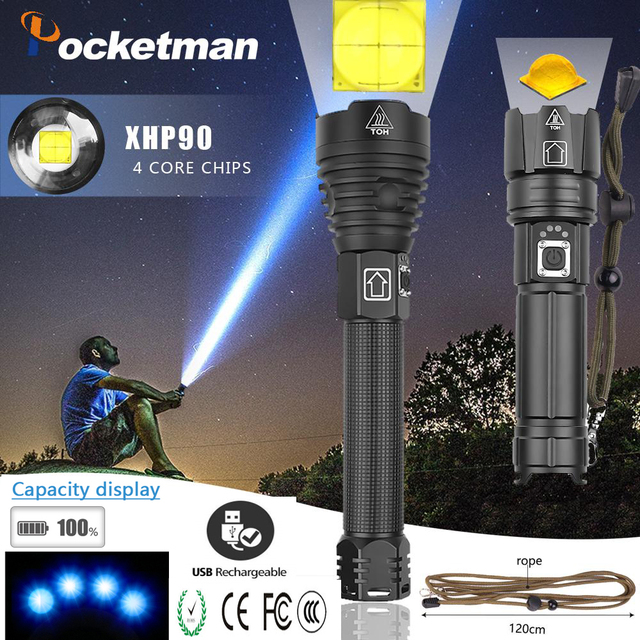 Powerful XHP90 XHP70.2  LED Flashlight long range Power Display Torch USB Zoomable 3 modes 26650 USB Rechargeable Large battery