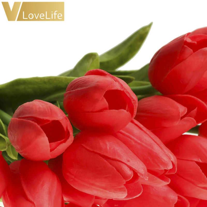 10 Pcs Buatan Tulip Bunga PE Dekorasi Lavender Warna Nut dan Ekor Lateks untuk Pesta Pernikahan Buket Pengantin Dekorasi