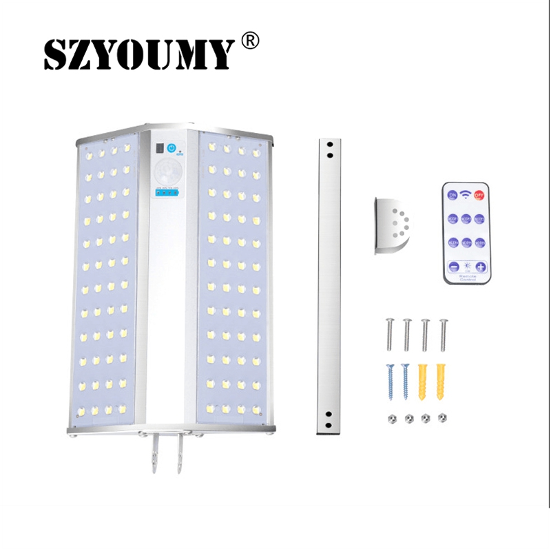 SZYOUMY High Quality Solar Powered Double Sided 96 Led Remote Control Solar Landscape Light Solar Wall Garden Lamp 1600lm
