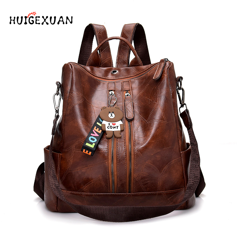 New Women Leather Backpacks Women Fashion PU Leather Rucksack Ladies Bagpack Fashion School Bags For Girls Travel Back Pack