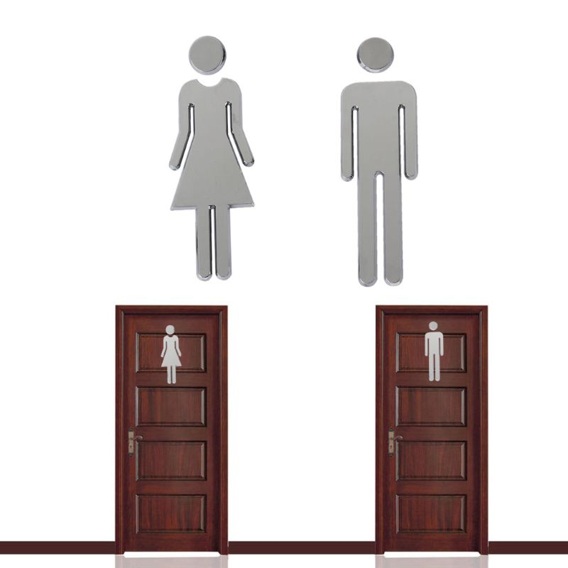 2Pcs ABS Plastic Removable Man Woman Washroom Toilet WC DIY Door Sign Stickers