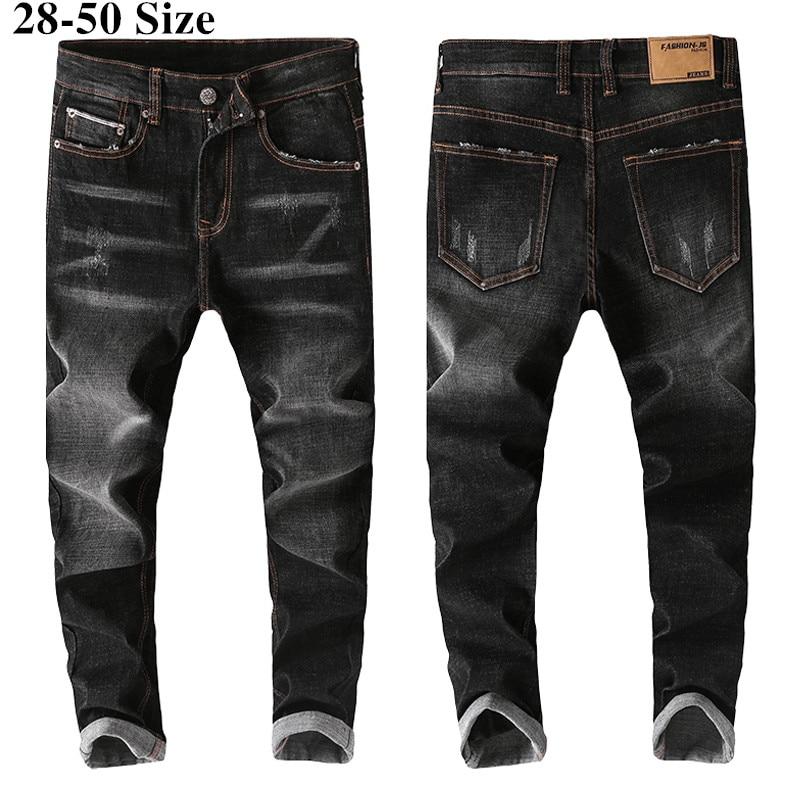 Plus Size 42 44 46 48 Men's Slim Stretch Jeans 2019 New Classic Style Fashion Cotton Trousers Male Black Blue Light Blue Pants