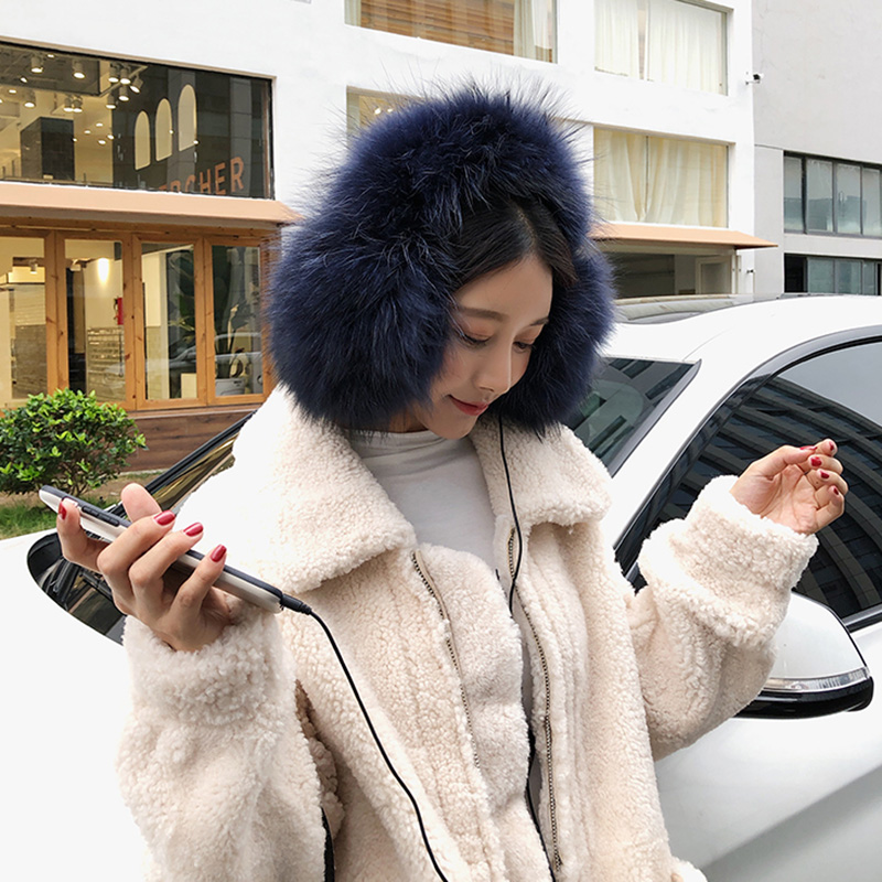 New Arrival Women Fashion Earmuffs Winter Thick Warm Real Raccoon Fur Headset With Speaker S7720
