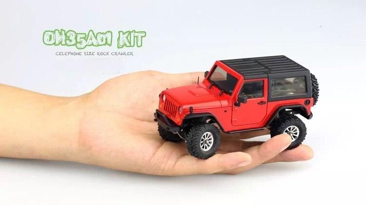 1/35 desmontado modelo mini controle remoto fora de estrada escalada carro kit para orlandoo huntera01 wrangler crawler peças diy - 3