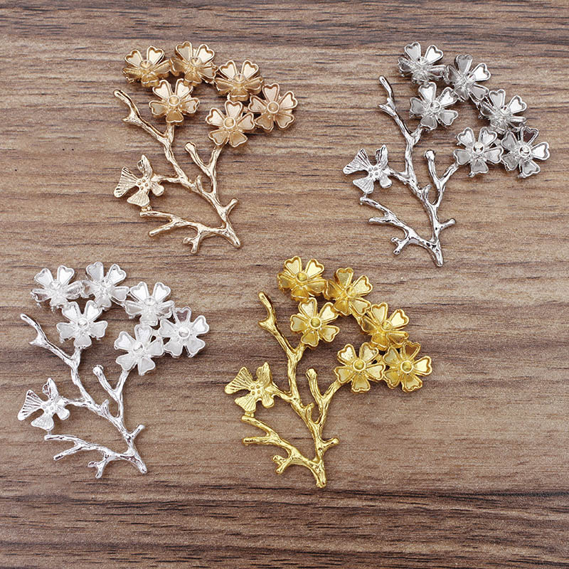 5pcs 52x44mm Flower Vine Leaf Bridal Headwear Accessories Supplier for DIY Jewelry Making Brooch Hairpin Decoration Findings