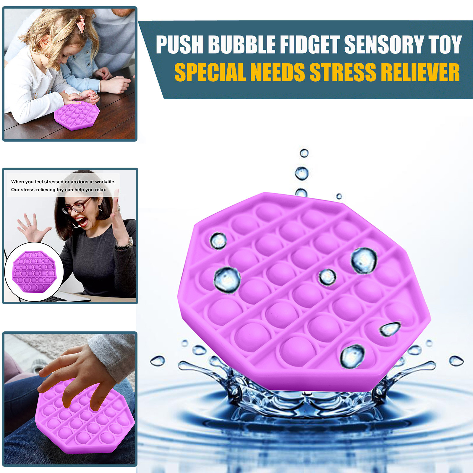 Figet Toys Stress-Ball Autism Soft-Squeeze-Toy Push Bubble Popit Special Kids Sensory-Toy img4