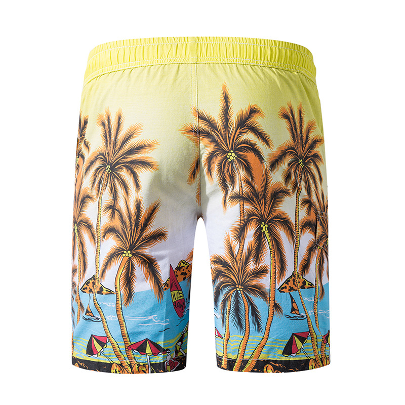 Casual Beach Shorts Men's Pure Cotton Palm Printed Loose-Fit Shorts Elastic MEN'S Beach Shorts 1818